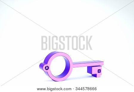 Purple Ancient key for game icon isolated on white background. 3d illustration 3D render stock photo