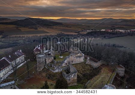 Klenova castle is a large castle located in southwest Bohemia near the town of Klatovy. Only ruins remain from the original castle but buildings of a new chateau were added in the 19th century. stock photo