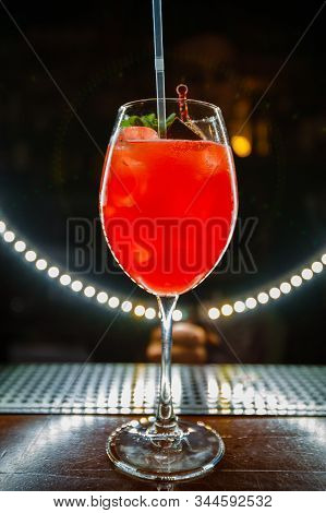 Bright red alcoholic cocktails. Red smoothies. Varieties of alcohol. Bar. stock photo