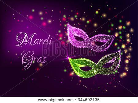Futuristic Mardi Gras web banner with glowing low polygonal masquerade masks. stock photo