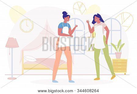 Two Woman Workers from Cleaning Service Standing in Bedroom Flat Cartoon Vector Illustration. Girl Characters Talking after Tidying Apartment. Bed and Lamp on Background. Female Cleaners. stock photo