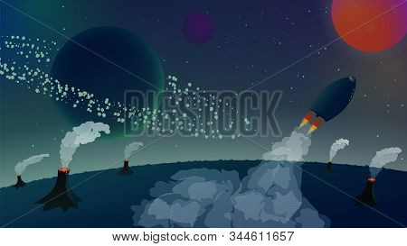 Space landscape with a rocket flying away from the planet with volcanoes. Asteroid belt around the planet. Beautiful smoke from rockets and volcanoes. Starry sky. Space flight. Vector illustration. stock photo