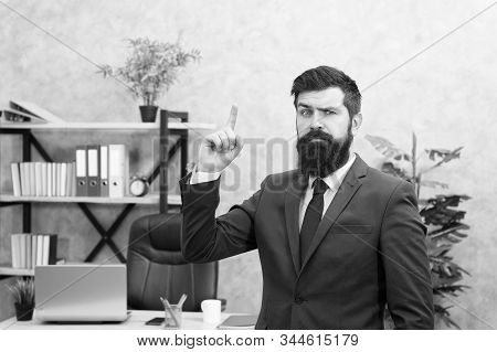Run a company. Human resources. Job interview. Man bearded top manager boss in office. Business career. Start own business. Business man formal suit successful guy. Recruiter professional occupation. stock photo