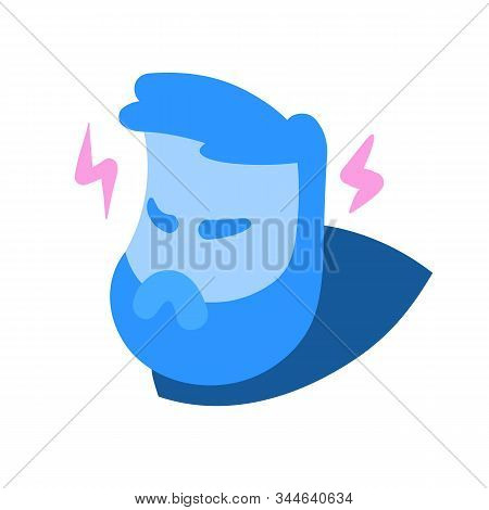 Angry cartoon man head in rage, with lightnings of wrath around. Avatar, emotions face, expression, stress. Cartoon design icon. Colorful flat vector illustration. Isolated on white background. stock photo