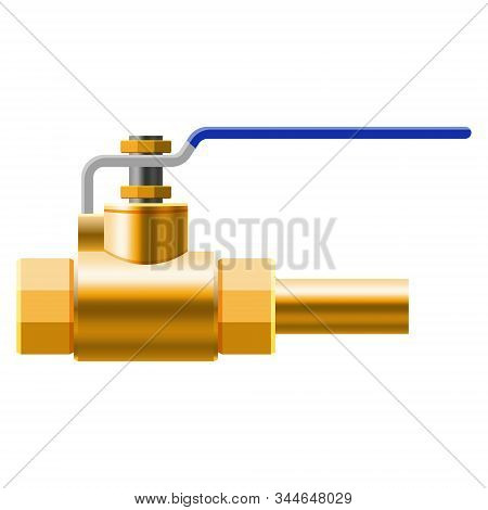 Valve ball, fittings, pipes of metal bronze, copper piping system. Valve water, oil, gas pipeline, pipes sewage. Construction and industrial pressure technology plumbing. Vector illustration realistic style isolated stock photo