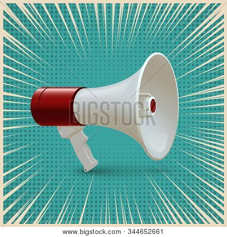 Red and white megaphone isolated on blue pop art background. Vector realistic 3d bullhorn stock photo