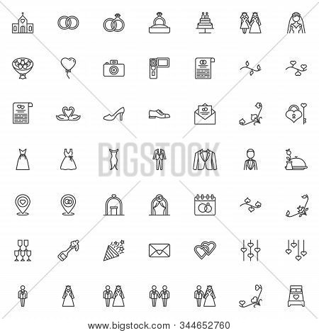 Wedding, marriage line icons set. Bridal linear style symbols collection, outline signs pack. vector graphics. Set includes icons as newlyweds groom and bride, bridal wedding dress, groom, invitation stock photo