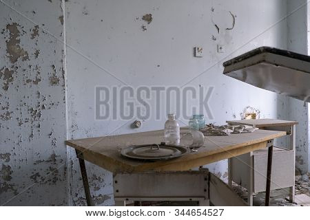 Chernobyl pripyat abandoned drugs and medicines abandoned on the table stock photo