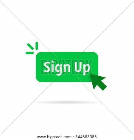 green sign up button isolated on white. flat cartoon modern logotype graphic art design illustration element. concept of signup on site or apply now to community and open registration stock photo