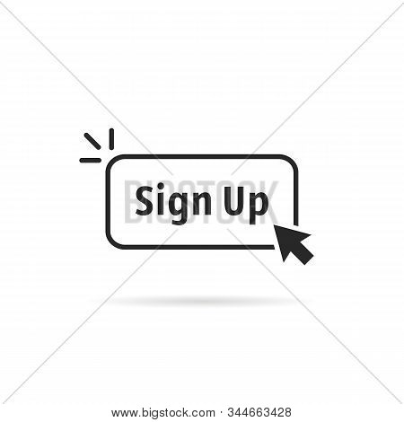 linear simple black sign up button. concept of signup on site or apply now to community and open registration. flat outline modern logotype graphic art design illustration isolated on white background stock photo