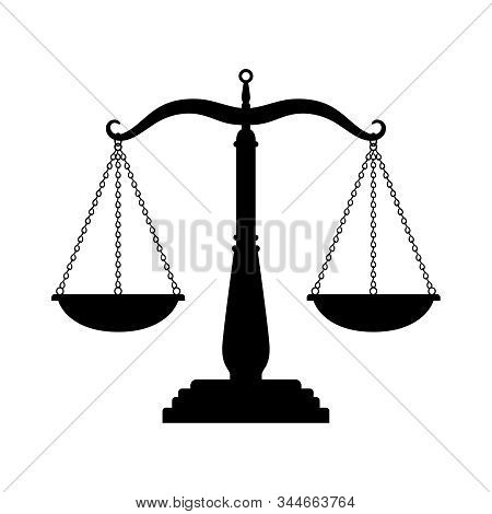Balance scales black icon. Judge scale silhouette image, trading weight and law court symbol vector illustration, black truth balancing elements on white background stock photo