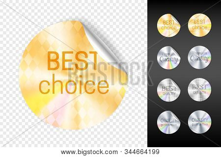 Foil stickers. Retail gold and white silver sticker set, best choice and quality warranty shiny stickers isolated on transparent background vector illustration stock photo