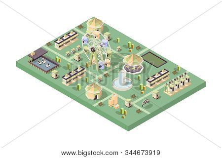 Amusement park. Happy kids attractions rollercoaster wheel fun swings festival cars balloons carousel vector isometric. Amusement park isometric, carousel and circus entertainment illustration stock photo