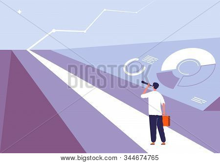 Business begin concept. Person standing on the road and viewing in horizon opportunity big challenge and profit vector illustration. Business opportunity and challenge, solution and motivation stock photo