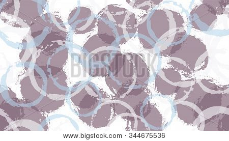 Unique painted circles geometry fabric print. Round shape spot overlapping elements vector seamless pattern. Grunge texture circles geometry fabric background. stock photo