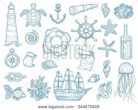 Nautical collection. Sailing boats hand drawn marine set fishes vessel vector set. Ship marine, sea vessel, collection elements lighthouse, anchor illustration stock photo