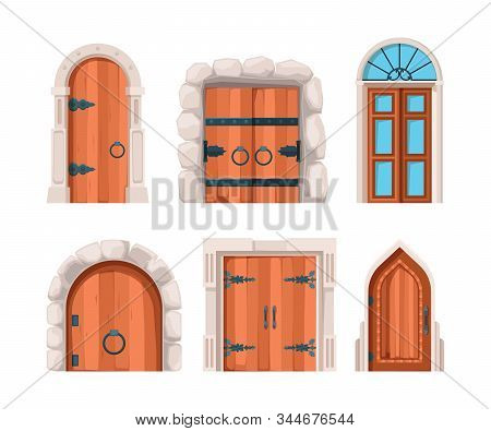 Ancient doors. Wooden stone medieval and old building doors and gates from castles vector designs. Collection door entrance and ancient architecture illustration stock photo