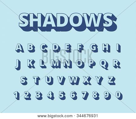 Letters long shadows. Alphabet with letters and numbers in retro style typography collection vector set. Illustration alphabet typography, typeface headline, typeset abc stock photo