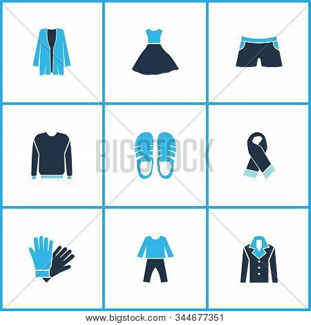 Dress icons colored set with cardigan, scarf, fashion dress and other overcoat elements. Isolated illustration dress icons. stock photo