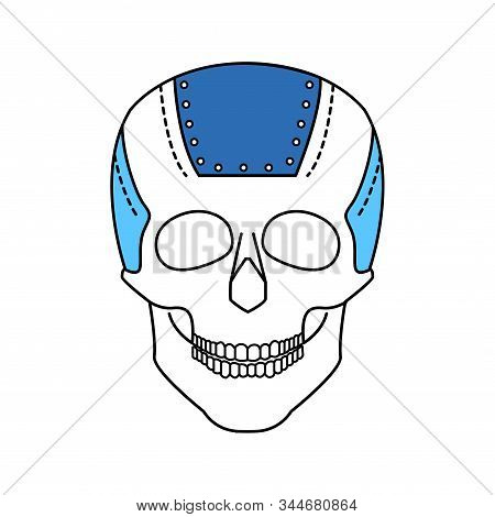 Bio artificial plate on the skull color line icon. Special material in the human skull, established in connection with damage to the skull. Pictogram for web page, mobile app, promo. Editable stroke. stock photo