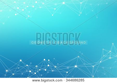 Geometric abstract background with connected line and dots. Network and connection background for your presentation. Graphic polygonal background. Scientific vector illustration. stock photo