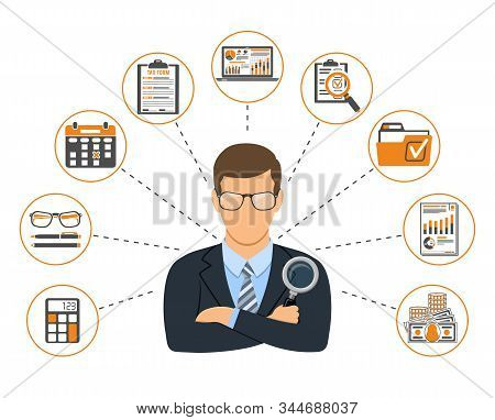 Auditing, Tax, Accounting Banner. Auditor Holds Magnifying Glass in Hand and Checks Financial Report with Charts, Calculator and laptop. Flat Style Icons. Isolated vector illustration stock photo