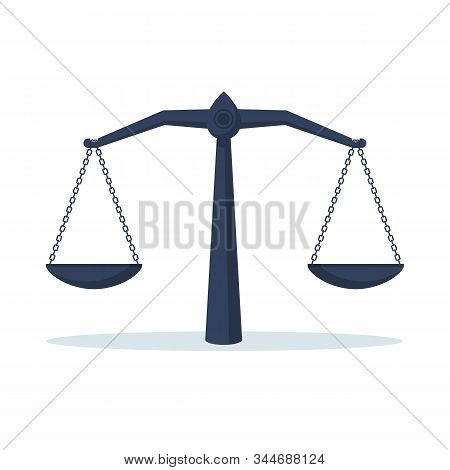Scales icon. Cartoon design. Justice scales isolated black icon on white background, symbol of justice and law. Vector illustration flat style. stock photo