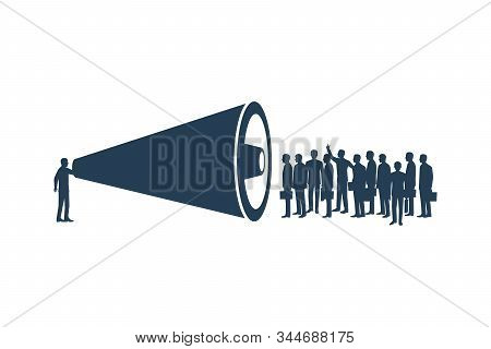 Leader speaks to the crowd through a megaphone. Concept of advertisement, promotion, marketing. Important announcement. Vector illustration flat design. Isolated on white background. stock photo
