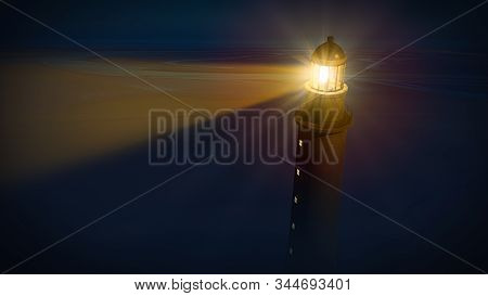 Lighthouse with beam of shining light in the blue dark night. 3D illustration. stock photo