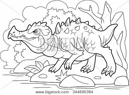 cartoon angry swamp dragon, coloring book, funny illustration stock photo