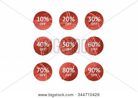 Blank red round sticker with discount mockup, isolated, 3d remdering. Empty sale tag for store sell-out mock up, top view. Clear wrinkle sticky with percent off mokcup template. stock photo