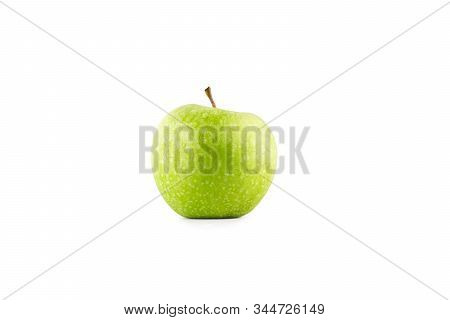 green apple on white background fruit agriculture food isolated stock photo