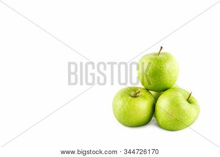 group of ripe green apple on white background fruit agriculture food isolated stock photo