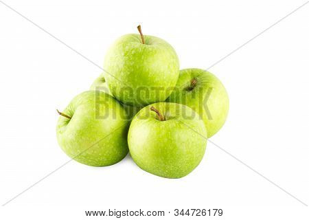 green apple fruit on white background fruit agriculture food isolated stock photo