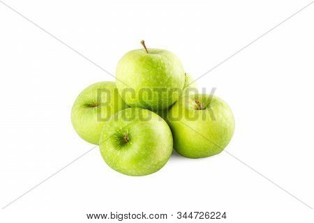 fresh green apple on white background fruit agriculture food isolated stock photo