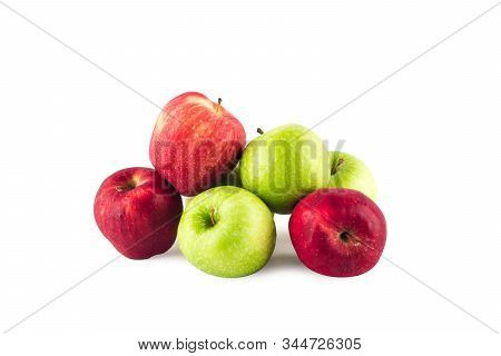 group of fruit between fresh green apple and  ripe red apple on white background fruit agriculture food isolated stock photo