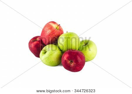 fresh green apple and  ripe red apple on white background fruit agriculture food isolated stock photo