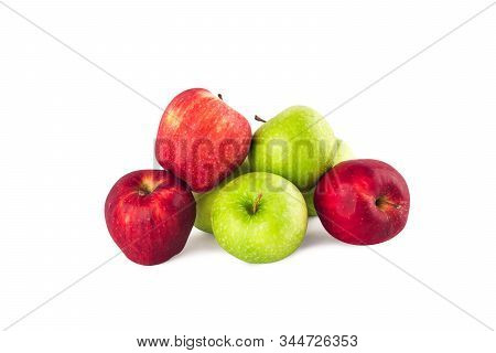green apple and red apple ( malus domestica ) on white background fruit agriculture food isolated stock photo