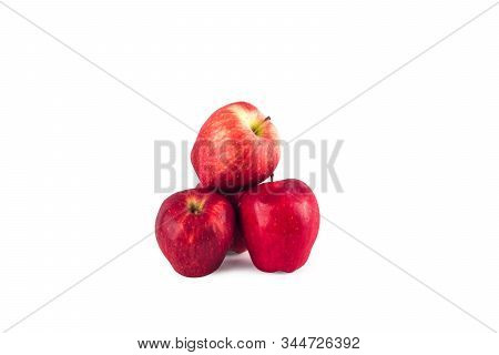 red apples  fruit on white background fruit agriculture food isolated stock photo