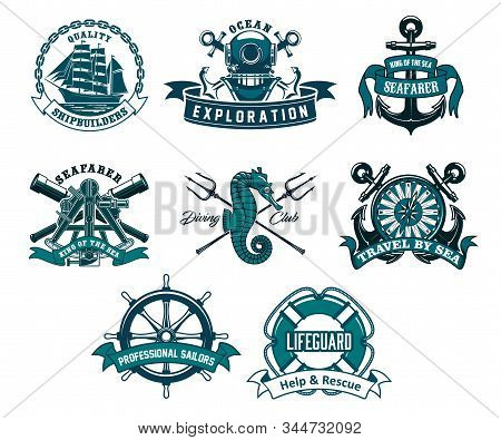 Heraldic ship anchor and helm vector icons, captain spyglass and frigate sailboat, aqualung and lifeguard buoy, seahorse and trident. Diving club, sea and ocean exploration adventure nautical icons stock photo