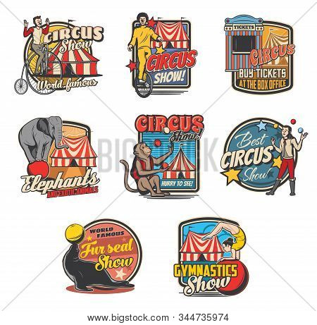 Circus retro icons with vector carnival top tents, trained animals and performers. Clown, elephant and juggler, amusement park ticket, acrobats and monkey, bicycle, balls and marquee tents stock photo