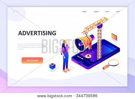 Modern flat design isometric concept of Advertising and Promotion decorated people character for website and mobile website development. Isometric landing page template. Vector illustration. stock photo