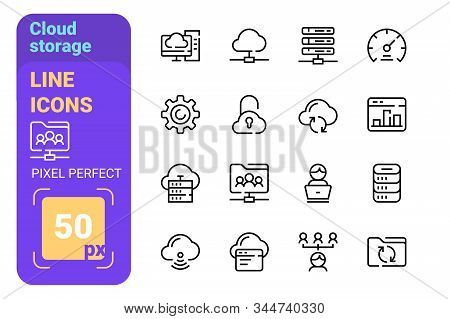 Cloud storage line icons set vector illustration. Data synchronization and transfer and access flat style. Internet space and wireless connection and privacy concept stock photo