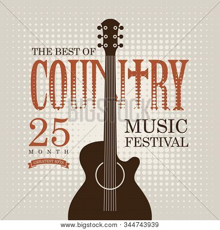 Vector poster for country music festival with electric guitar on the light abstract background in retro style stock photo