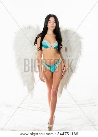 Purity and innocence. Delicate woman posing with angel wings. Fashion model. Girl wear lingerie and angel wings accessory. stock photo