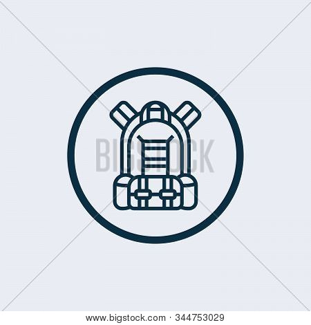 Army backpack vector icon on white background. Flat vector army backpack icon symbol sign from modern army and war collection for mobile concept and web apps design. stock photo