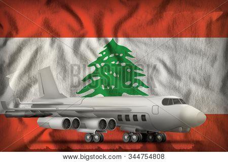 bomber on the Lebanon flag background. 3d Illustration stock photo