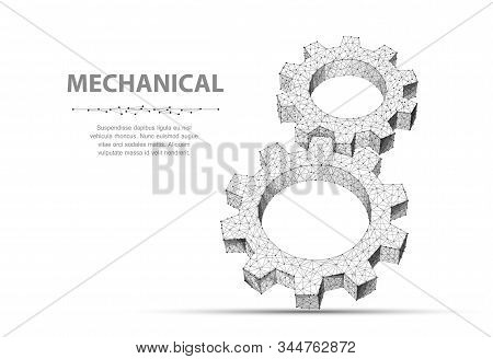 Gears. Closeup abstract vector wireframe two gear. 3d illustration isolated on white. stock photo