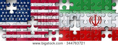 Iran US showdown and middle east clash as a USA or United States crisis in the Persian gulf puzzle concept as an American and Iranian security problem due to sanctions and nuclear deal as a 3D illustration. stock photo