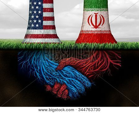 Iranian American back channel confidential agreement with two trees with underground roots as a handshake as a metaphor and symbol for Iranian and United States working on a secret deal with 3D illustration elements. stock photo